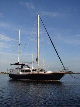 1979 Gulfstar 47 Sailmaster Stbd side at anchor