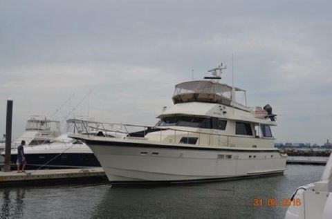 1987 Hatteras 61 Cockpit Motoryacht Profile, Port Forward