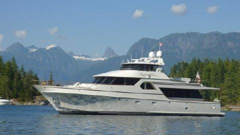 1998 Nordlund Enclosed Bridge Profile in stunning anchorage