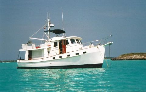 1997 Kadey Krogen Raised Pilothouse Trawler 42' Kadey Krogen at anchor