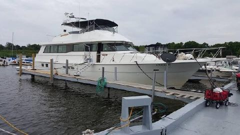 1995 Hatteras 70 Sport Deck Motor Yacht At dock