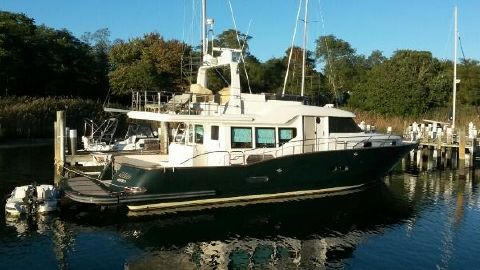 "2003 Custom Sea Star Pilothouse ""Meema"" at the dock"