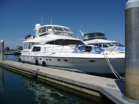 2005 Johnson 70 MotorYacht Dock Starboard