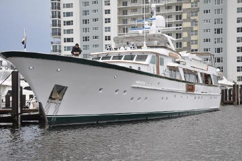 1982 Feadship Raised Pilothouse Motor Yacht at the dock