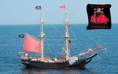 2000 Two Masted Schooner Brigantine Firing broadside
