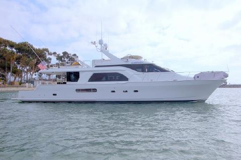 2003 Queenship 70 Pilothouse Motoryacht Starboard Profile