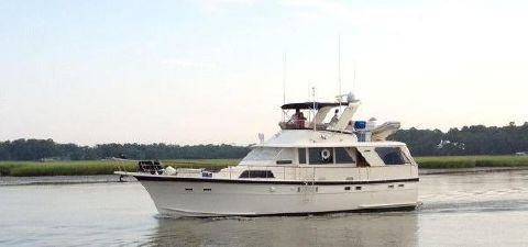 1978 Hatteras 53 Motoryacht Port Profile Underway