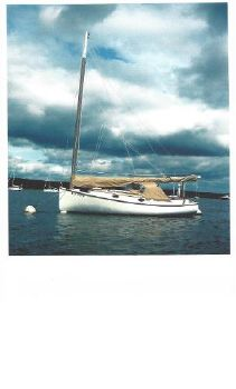 1974 Marshall Catboat AMITY on her mooring