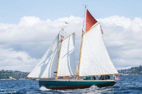 1978 Hodgdon Bros. Stadel Gaff Topsail Schooner Under Sail 3